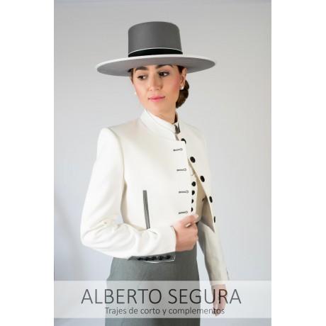 Chaqueta de Corto señora Sarga Blanco Roto con contrastes