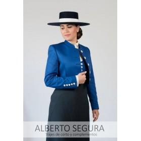 Chaqueta Señora Sarga Azul Eléctrico