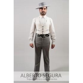 Chaleco Sarga Blanco Roto contrastes