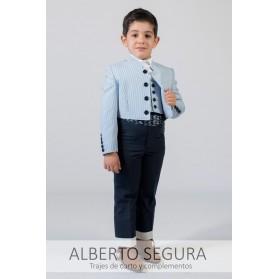 Traje Niño 500 Rayas Azul