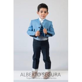 Traje de Corto 500 Rayas Azul